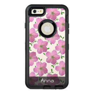 Romantic Pink Garden Flowers Pattern any Text OtterBox iPhone 6/6s Plus Case