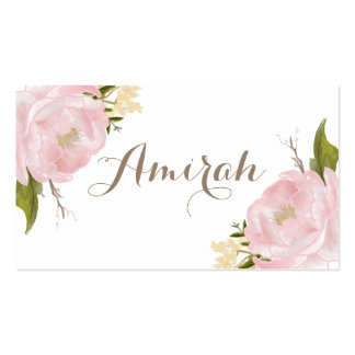 Romantic Pink Peonies Wreath DIY Place Cards Pack Of Standard Business Cards