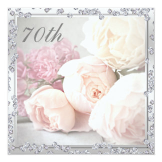 Romantic Roses & Diamonds 70th Birthday Party 13 Cm X 13 Cm Square Invitation Card