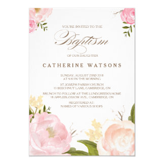 Romantic Watercolor Flowers Baptism Invitation