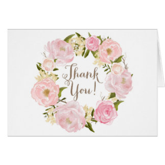 Romantic Watercolor Peonies Wreath Thank You Greeting Card