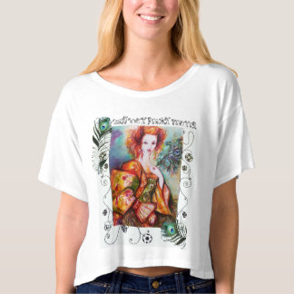 ROMANTIC WOMAN WITH PEACOCK FEATHERS TEE SHIRTS