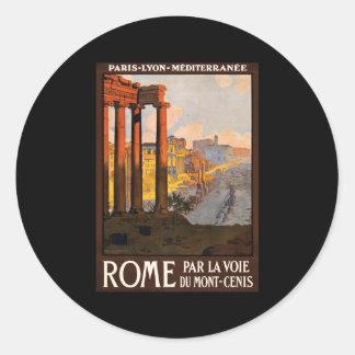Rome par la voie du Mont-Cenis Round Sticker