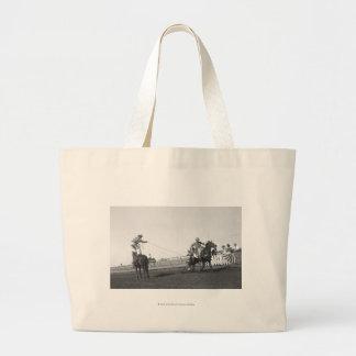 Roping horse jumbo tote bag