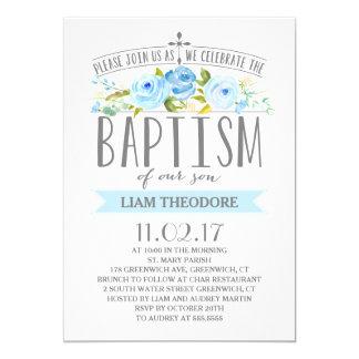 Rose Banner | Boy Baptism Invitation