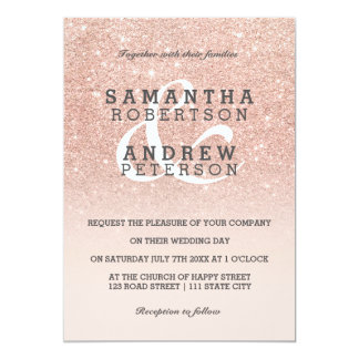 Rose gold faux glitter pink ombre wedding custom 13 cm x 18 cm invitation card