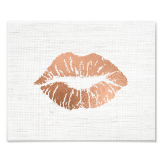 Rose Gold Foil-effect Luscious Lips Wedding Photo Art