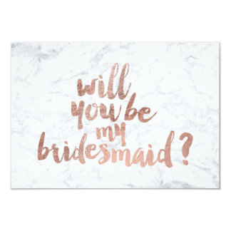 Rose gold marble Will you be my Bridesmaid 9 Cm X 13 Cm Invitation Card