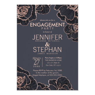 Rose Gold Navy Blue Flowers Engagement Party 13 Cm X 18 Cm Invitation Card