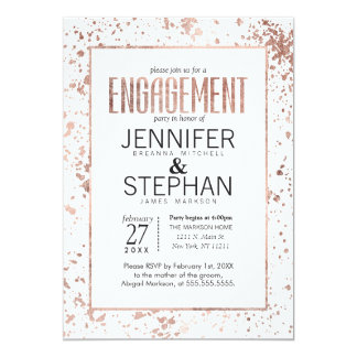 Rose Gold Paint Splatters Engagement Party Invites