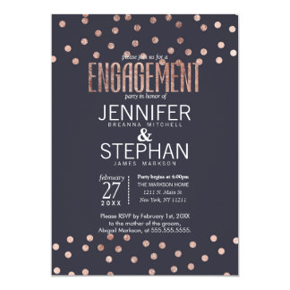 Rose Gold Polka Dots and Navy Blue Engagement 13 Cm X 18 Cm Invitation Card