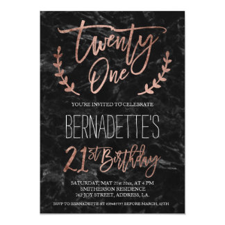 Rose gold typography black marble 21st Birthday 13 Cm X 18 Cm Invitation Card