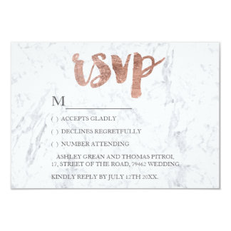 Rose gold typography marble RSVP Wedding 9 Cm X 13 Cm Invitation Card