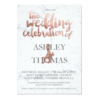 Rose gold typography marble wedding 13 cm x 18 cm invitation card