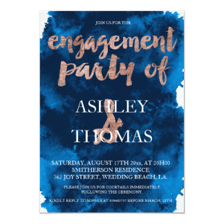 Rose gold typography navy blue engagement party 13 cm x 18 cm invitation card