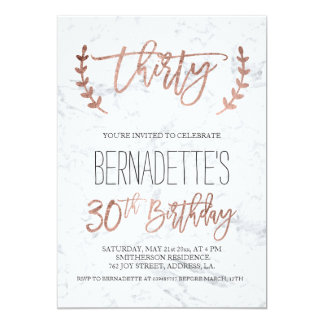 Rose gold typography white marble 30th Birthday 13 Cm X 18 Cm Invitation Card