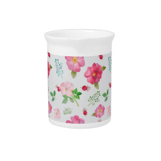 Rose Hip Garden Pattern Beverage Pitcher