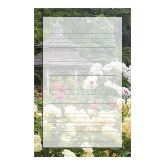 Roses in bloom and Gazebo Rose Garden at the Stationery Paper