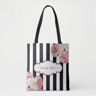 Roses with Black and White Stripes Tote Bag
