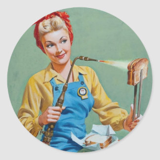 Rosie the Riveter Makes Toasted Cheese Round Sticker