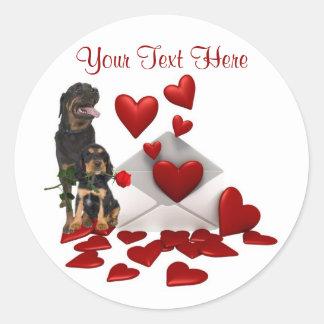 Rottweiler  Red Rose Valentine Design Round Sticker
