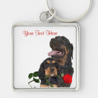 Rottweiler  Red Rose Valentine Design Silver-Colored Square Key Ring