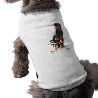 Rottweiler  Red Rose Valentine Design Sleeveless Dog Shirt