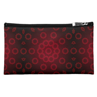 Roundiful Red Faux Lace Design Suede Cosmetic Bag