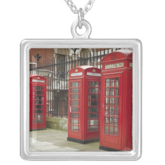 Row of phone boxes at the back of the Royal Square Pendant Necklace