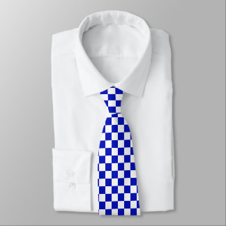 Royal Blue and White Checker Board Pattern Tie