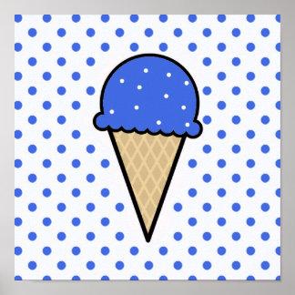 Royal Blue Ice Cream Cone Poster