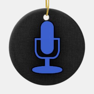 Royal Blue Microphone Round Ceramic Decoration