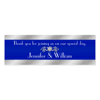 Royal Blue & Silver Tone Custom Wedding Favor Tags Pack Of Skinny Business Cards