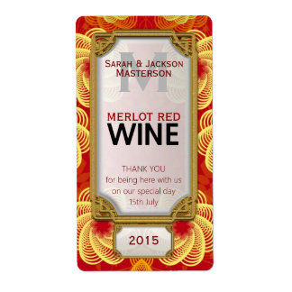Royale Red Yellow Custom Wine Bottle Labels