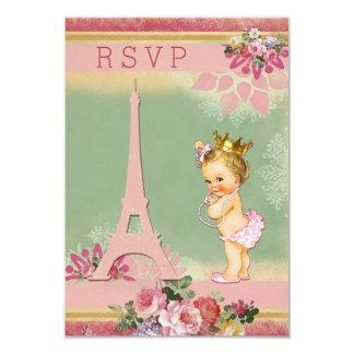 RSVP Eiffel Tower Princess Baby Shower 9 Cm X 13 Cm Invitation Card
