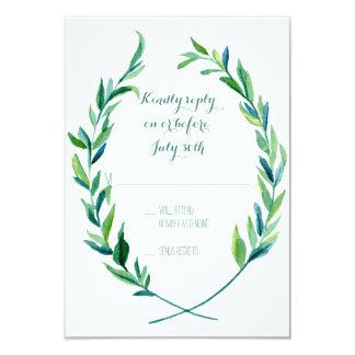 RSVP Laurel Wreath Olive Leaf Branch Modern Simple 9 Cm X 13 Cm Invitation Card