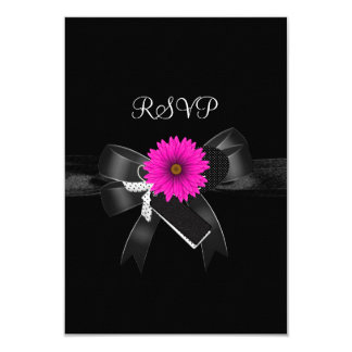 RSVP Party Black White Pink Flower Bow 9 Cm X 13 Cm Invitation Card