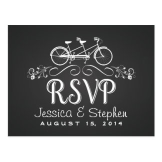 RSVP Tandem Bicycle for Two Chalkboard Reply Postcard