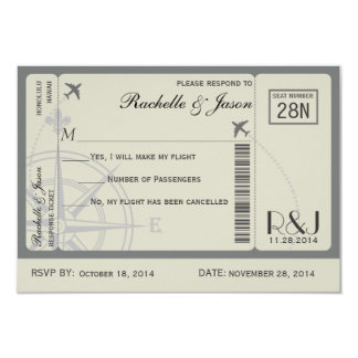 RSVP Ticket Airlines 9 Cm X 13 Cm Invitation Card