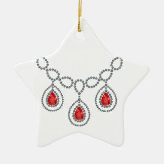 Ruby Teardrop Necklace Ceramic Star Decoration
