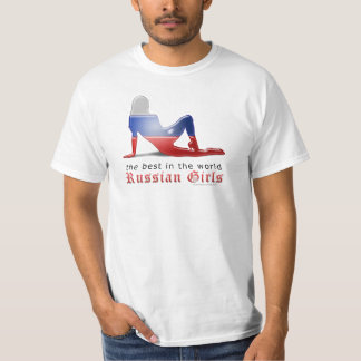 Russian Girl Silhouette Flag Tee Shirt