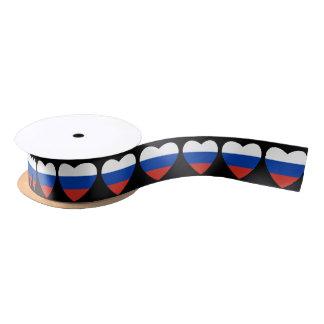 Russian heart flag Satin Ribbon