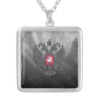 Russian symbol flag square pendant necklace