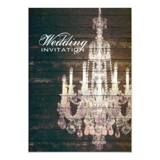 Rustic Barn Wood Chandelier wedding 13 Cm X 18 Cm Invitation Card