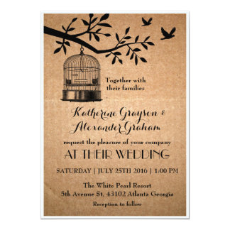 Rustic Brown Paper Bird Cage Wedding Invitation