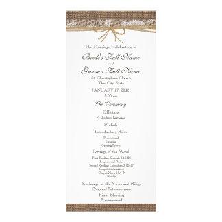 Rustic Burlap and Twine Wedding Program Full Colour Rack Card