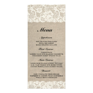 Rustic Burlap & Lace Wedding Menu Rack Card Design