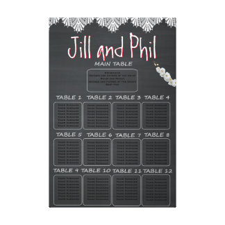 Rustic Chalkboard Seating Chart Stretched Canvas Prints