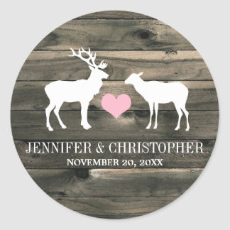 Rustic Country Buck and Doe Envelope Seal Round Sticker