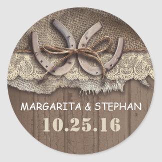 rustic country horseshoes wedding stickers